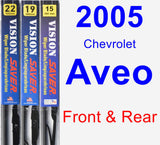 Front & Rear Wiper Blade Pack for 2005 Chevrolet Aveo - Vision Saver