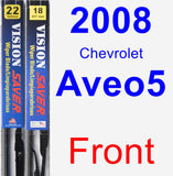Front Wiper Blade Pack for 2008 Chevrolet Aveo5 - Vision Saver
