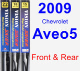 Front & Rear Wiper Blade Pack for 2009 Chevrolet Aveo5 - Vision Saver