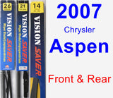 Front & Rear Wiper Blade Pack for 2007 Chrysler Aspen - Vision Saver