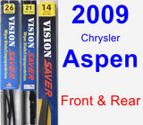 Front & Rear Wiper Blade Pack for 2009 Chrysler Aspen - Vision Saver