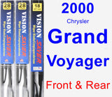 Front & Rear Wiper Blade Pack for 2000 Chrysler Grand Voyager - Vision Saver