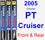 Front & Rear Wiper Blade Pack for 2005 Chrysler PT Cruiser - Vision Saver