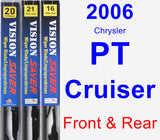 Front & Rear Wiper Blade Pack for 2006 Chrysler PT Cruiser - Vision Saver