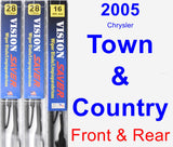 Front & Rear Wiper Blade Pack for 2005 Chrysler Town & Country - Vision Saver