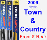 Front & Rear Wiper Blade Pack for 2009 Chrysler Town & Country - Vision Saver