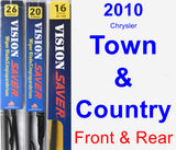 Front & Rear Wiper Blade Pack for 2010 Chrysler Town & Country - Vision Saver