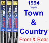 Front & Rear Wiper Blade Pack for 1994 Chrysler Town & Country - Vision Saver