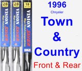 Front & Rear Wiper Blade Pack for 1996 Chrysler Town & Country - Vision Saver