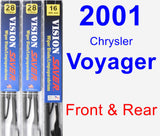 Front & Rear Wiper Blade Pack for 2001 Chrysler Voyager - Vision Saver