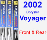 Front & Rear Wiper Blade Pack for 2002 Chrysler Voyager - Vision Saver