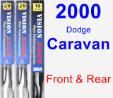 Front & Rear Wiper Blade Pack for 2000 Dodge Caravan - Vision Saver