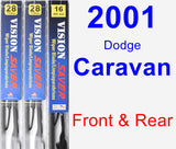 Front & Rear Wiper Blade Pack for 2001 Dodge Caravan - Vision Saver