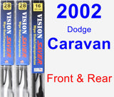 Front & Rear Wiper Blade Pack for 2002 Dodge Caravan - Vision Saver