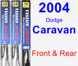Front & Rear Wiper Blade Pack for 2004 Dodge Caravan - Vision Saver