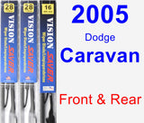 Front & Rear Wiper Blade Pack for 2005 Dodge Caravan - Vision Saver