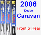 Front & Rear Wiper Blade Pack for 2006 Dodge Caravan - Vision Saver