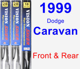 Front & Rear Wiper Blade Pack for 1999 Dodge Caravan - Vision Saver