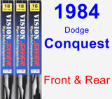 Front & Rear Wiper Blade Pack for 1984 Dodge Conquest - Vision Saver