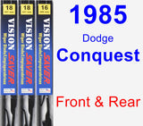 Front & Rear Wiper Blade Pack for 1985 Dodge Conquest - Vision Saver