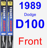Front Wiper Blade Pack for 1989 Dodge D100 - Vision Saver