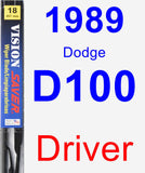 Driver Wiper Blade for 1989 Dodge D100 - Vision Saver