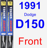 Front Wiper Blade Pack for 1991 Dodge D150 - Vision Saver