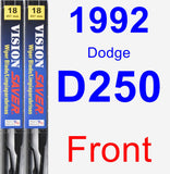 Front Wiper Blade Pack for 1992 Dodge D250 - Vision Saver