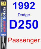 Passenger Wiper Blade for 1992 Dodge D250 - Vision Saver