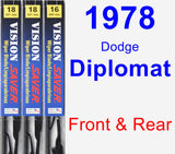 Front & Rear Wiper Blade Pack for 1978 Dodge Diplomat - Vision Saver