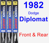 Front & Rear Wiper Blade Pack for 1982 Dodge Diplomat - Vision Saver