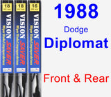 Front & Rear Wiper Blade Pack for 1988 Dodge Diplomat - Vision Saver
