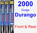 Front & Rear Wiper Blade Pack for 2000 Dodge Durango - Vision Saver