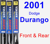 Front & Rear Wiper Blade Pack for 2001 Dodge Durango - Vision Saver