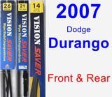 Front & Rear Wiper Blade Pack for 2007 Dodge Durango - Vision Saver