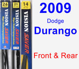 Front & Rear Wiper Blade Pack for 2009 Dodge Durango - Vision Saver