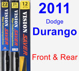 Front & Rear Wiper Blade Pack for 2011 Dodge Durango - Vision Saver