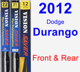 Front & Rear Wiper Blade Pack for 2012 Dodge Durango - Vision Saver