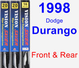 Front & Rear Wiper Blade Pack for 1998 Dodge Durango - Vision Saver