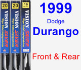 Front & Rear Wiper Blade Pack for 1999 Dodge Durango - Vision Saver