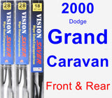 Front & Rear Wiper Blade Pack for 2000 Dodge Grand Caravan - Vision Saver