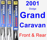 Front & Rear Wiper Blade Pack for 2001 Dodge Grand Caravan - Vision Saver