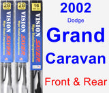Front & Rear Wiper Blade Pack for 2002 Dodge Grand Caravan - Vision Saver