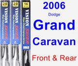 Front & Rear Wiper Blade Pack for 2006 Dodge Grand Caravan - Vision Saver