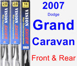 Front & Rear Wiper Blade Pack for 2007 Dodge Grand Caravan - Vision Saver