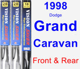 Front & Rear Wiper Blade Pack for 1998 Dodge Grand Caravan - Vision Saver