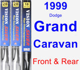 Front & Rear Wiper Blade Pack for 1999 Dodge Grand Caravan - Vision Saver