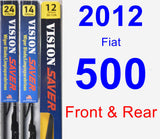 Front & Rear Wiper Blade Pack for 2012 Fiat 500 - Vision Saver