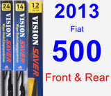 Front & Rear Wiper Blade Pack for 2013 Fiat 500 - Vision Saver