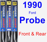 Front & Rear Wiper Blade Pack for 1990 Ford Probe - Vision Saver